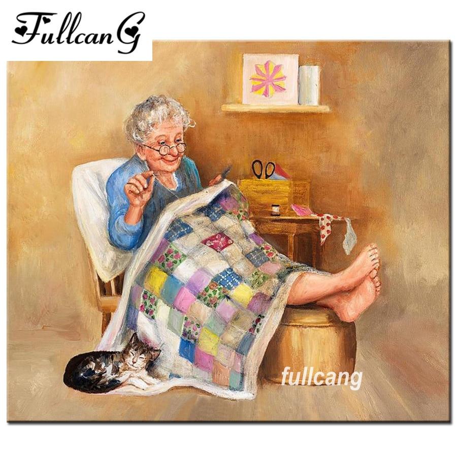 FULLCANG hardworking grandmother mosaic painting diy 5d diamond painting cross stitch full square diamond embroidery kit F553