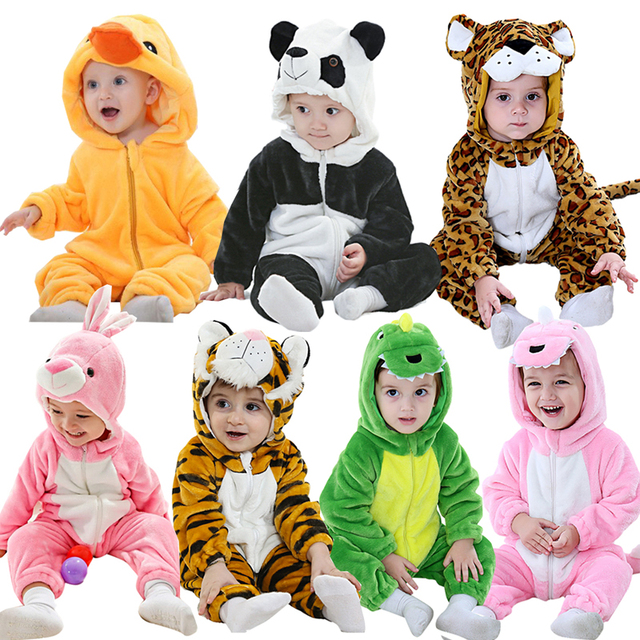 93485399a9b7 Baby Animal Flannel Romper Cute Boy Girl Panda Tiger Hooded Playsuit ...