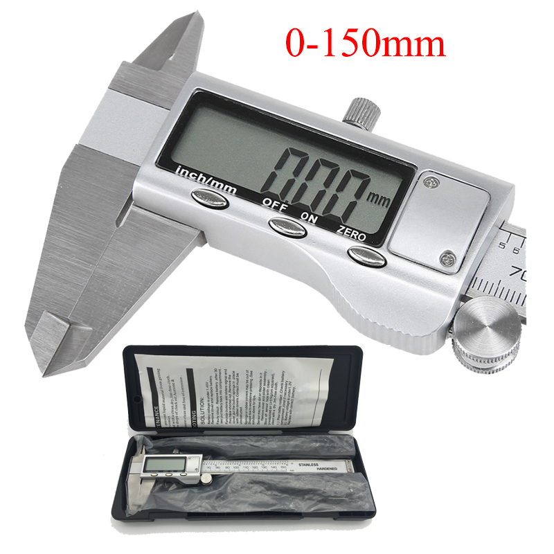 Metal caliper 6-Inch 150mm Stainless Steel Electronic Digital Vernier Caliper Micrometer Measuring Tool Caliper 150mm 6inch electronic vernier caliper ip54 waterproof stainless steel digital caliper resolution 0 01mm measuring tool with box
