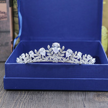 Fashion elegant Paved Crown Cubic Zircon Tiara Princess Tiaras Wedding bride Hair Accessories Bride Hair Jewelry free shipping