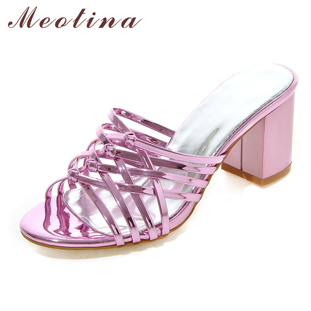 Meotina Women Sandals Summer Shoes Women Slides High Heels Sandals Thick Heel Slippers Ladies Shoes Sliver Gold Big Size 11 12  2017 summer new women sandals slipper shoes fashion rhinestone thick high heel female slides snadals black plus size shoes xp35