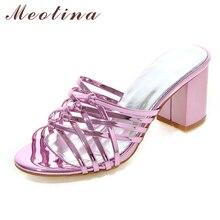 Meotina Femmes Sandales D'été Chaussures Femmes Diapositives Talons Sandales Talon épais Pantoufles Dames Chaussures Ruban Or Grande Taille 11 12