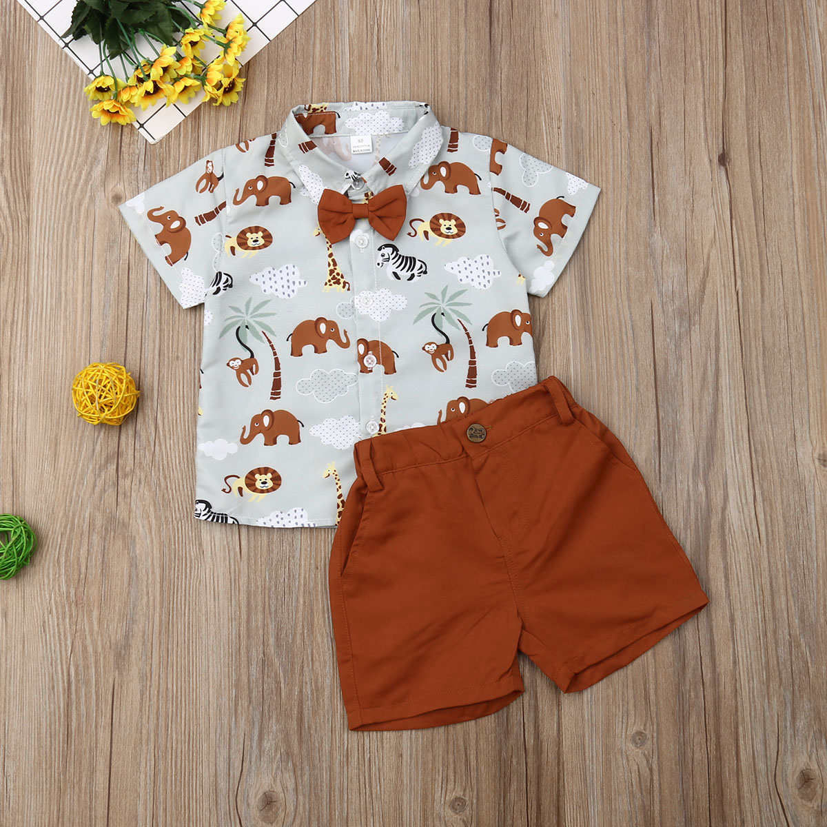 Pudcoco Summer Toddler Baby Boy Clothes Cute Animals Print Shirt Tops Short Pants 2Pcs Outfits Gentleman Baby Casual Clothes