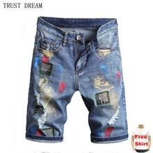 Summer Europeans Designed Men Denim Slim Shorts Painted Casual Outside Man Decent Jeans Amazing Quality Short