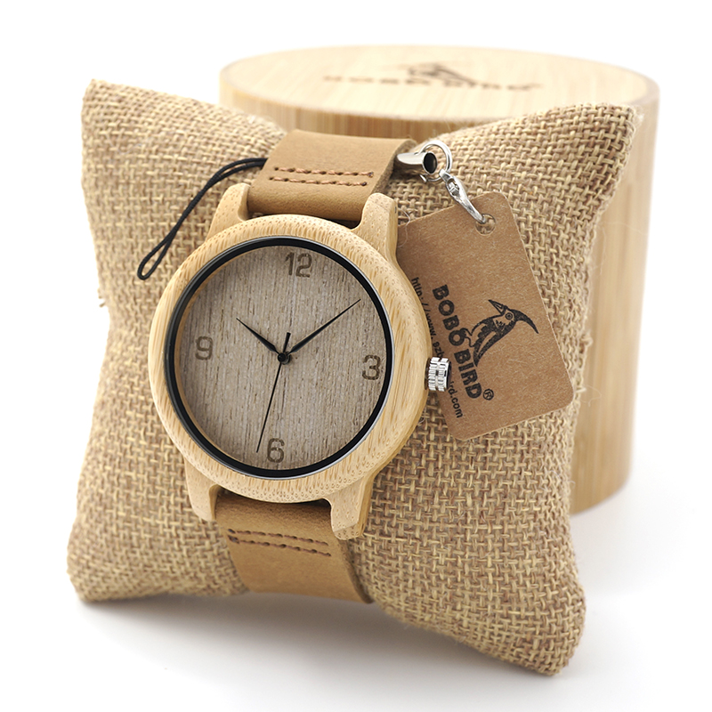 BOBO BIRD Womens Casual Antique Round Bamboo Wooden Watches With Leather Strap Lady Watches Top Brand