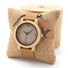 BOBO BIRD Womens Casual Antiguo Redondo De Bambú De Madera Relojes Con Correa de Cuero de Dama Relojes de Primeras Marcas de Lujo Reloj de Pulsera