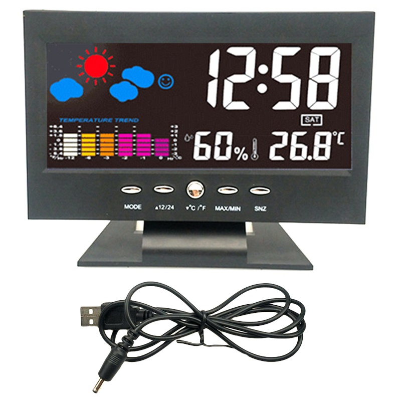 Digital Temperature Hygrometer Clock Thermometer Hygrometer Calendar Temperature Alarm Trend Level Comfortable Weather Station