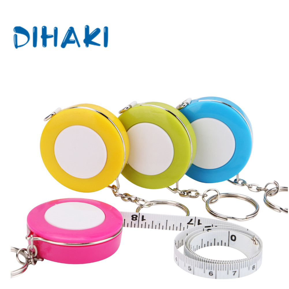 Portable Mini 1.5m/60In Tape Ruler With Keychain Cute Retractable Measure Tape For Soft Cloth Sewing Craft Pull Ruler