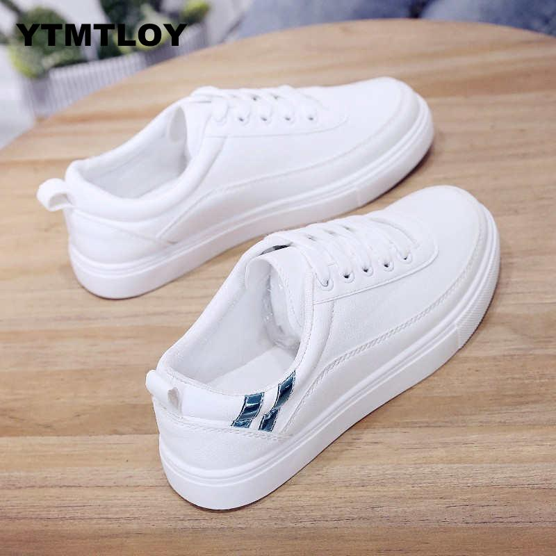 Women Sneakers Fashion Breathble Vulcanized Shoes Pu Leather Platform Lace Up Casual White  Trainers  Sexemara  Tenis 2019