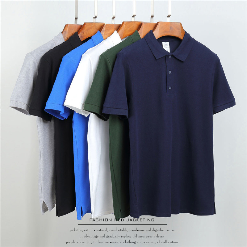 Polo Shirt Men Clothing Solid Color Polo Shirt Cotton Short Sleeve Poloshirt Men Camisa Masculina short-sleeved