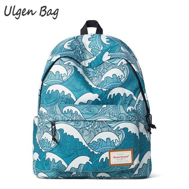 Hot brand students Backpack wave printing School Bags for Teenagers Girls  Canvas Bookbags Laptop Backpacks Female Daypacks 3fe4e119cd