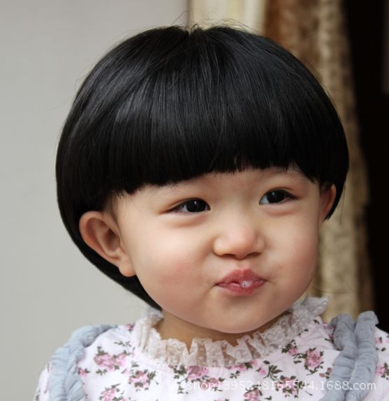 Childrens Wig Straight Short Hair Baby Fashion Aged 1 To 10 Black Dark Brown Girl Pear
