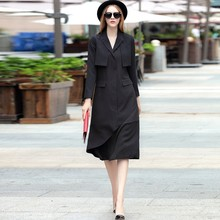 luxury 2016 autumn classy women's one piece dresses fashion brand designer dress formal long sleeve runway dresses black XL