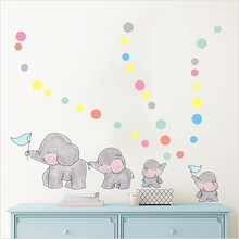 Cartoon Forest Animal Elephant Color Wall Stickers For Kids Rooms Colorful Dots Vinyl Wall Art Decals Diy Child Gifts Home Decor high quality colorful cartoon forest pattern removeable wall stickers