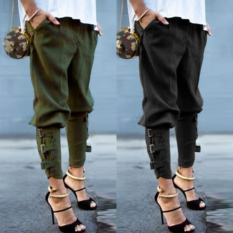 Vintage Women Pantalon 2019 ZANZEA Military Army Harem Camo   Pants     Capris   Trousers Female Streetwear Buckle Cargo   Pants   Oversized