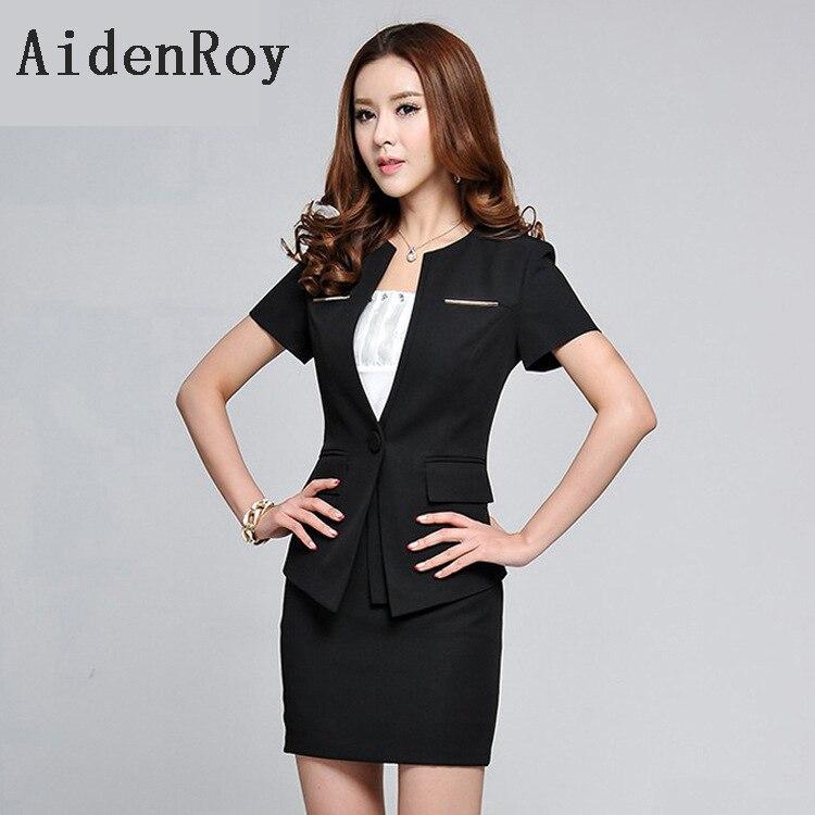 Lady OL Women Business Skirt Suit Summer Short Sleeve Single Button S-3XL Ladies Formal Work Wear Blazer Suits 2 piece set Suit