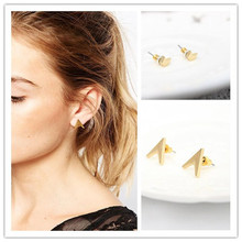 Newest  fashion jewelry accessories vintage gold plated small Opening triangle geometry stud earring for girl  E233