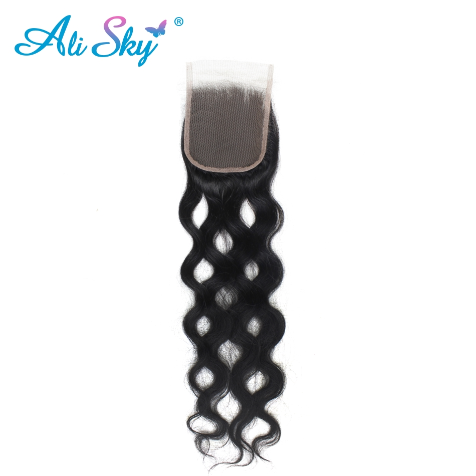 Ali Sky Malaysian Natural Wave 3 bundles with one piece top lace closure 4pcs/lot Human Hair Bundles Non Remy Hair Extensions