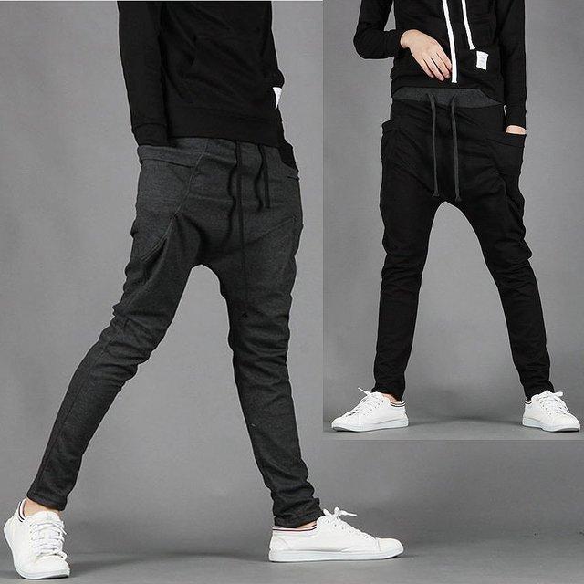 Nova korea folgado carga harém homens macacão calça casual Preto cinza Escuro M L XL XXL