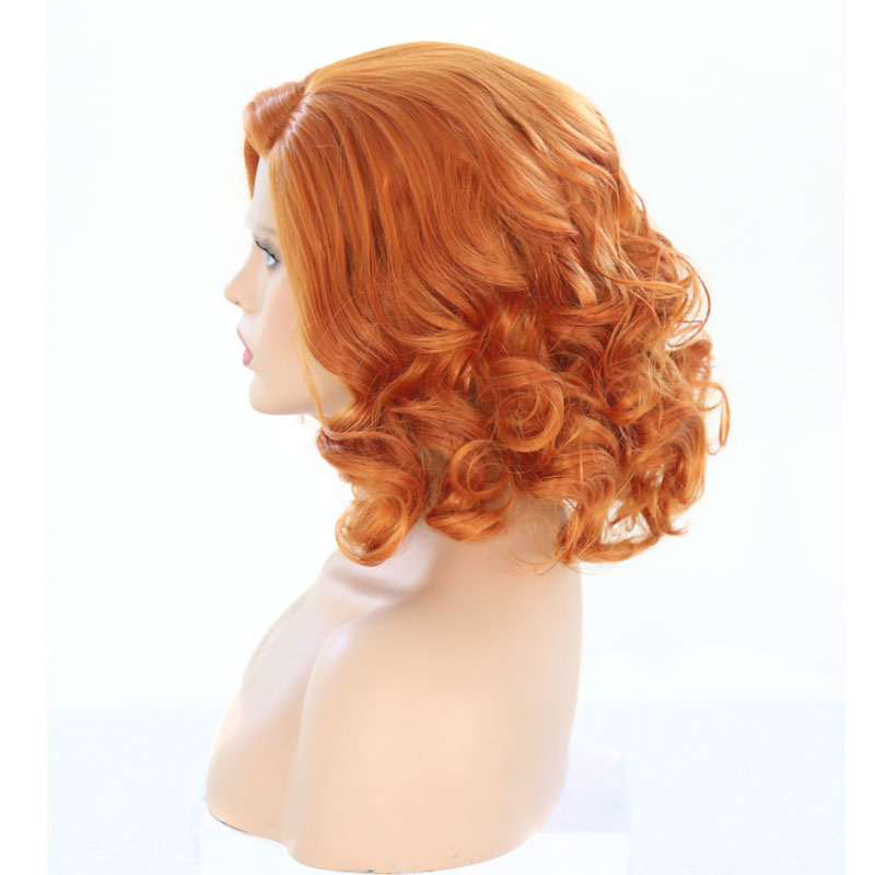 Bombshell Synthetic Lace Front Wig Short Bob Deep Wave Light Orange Heat Resistant Fiber Hair Side