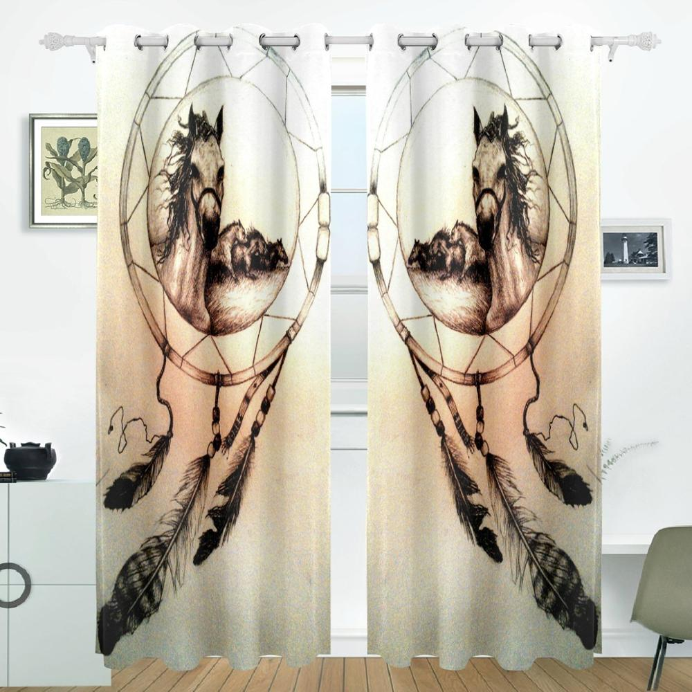 Dream Catchers Horse Curtains Drapes Panels Darkening Blackout Grommet Room Divider for Patio Window Sliding Glass DoorDream Catchers Horse Curtains Drapes Panels Darkening Blackout Grommet Room Divider for Patio Window Sliding Glass Door