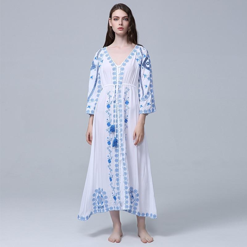 0911cd049152 VERHELLEN 2018 Women Bohemian Vintage Ethnic Flower Embroidered Cotton Tunic  Long White Maxi Dress Hippie Boho
