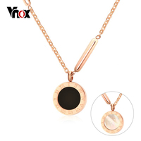 Vnox Double Sides Wear Choker Necklaces For Women Roman Numeral Rose Gold Color Shell Women Necklace