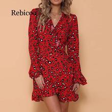 Womens Sexy V-Neck Leopard Printed Autumn Spring Long Sleeve Ruffled Hem Flare Party Wrap Mini Dress  femininos