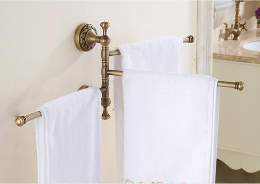 Wall Mounted Antique Copper Swivel Towel Bars Bathroom Towel Rack the ivory white european super suction wall mounted gate unique smoke door