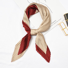Pleated Korean scarf Women small square scarfs all-match fashionable satin neck breathable grey for ladies kerchief