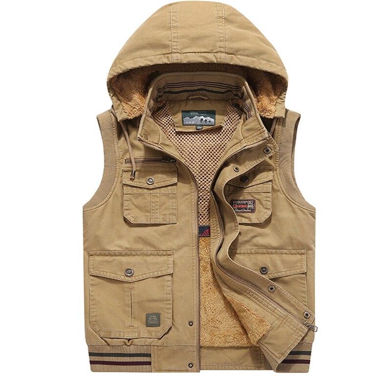 8XL 9XL marque 2018 automne hiver hommes manteau poches chaud sans manches veste AFS JEEP hommes gilet manteau polaire armée gilet à capuche