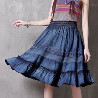 2019 Fashion ladies brand original boutique spring and summer mosaic women's denim skirt Vintage ruffled skirt women wild skirt