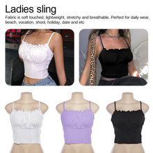Summer Women Purple Vest Fashion Sleeveless Strapless Solid Ruffles Crop Tops Pullovers Ladies Tanks Ruffled Sling