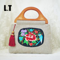 2017 Female Fashion Floral Embroidery Jute Tote Handle Bags Ladies Burlap Vintage Retro Old China Folk Stylish Book Handbag