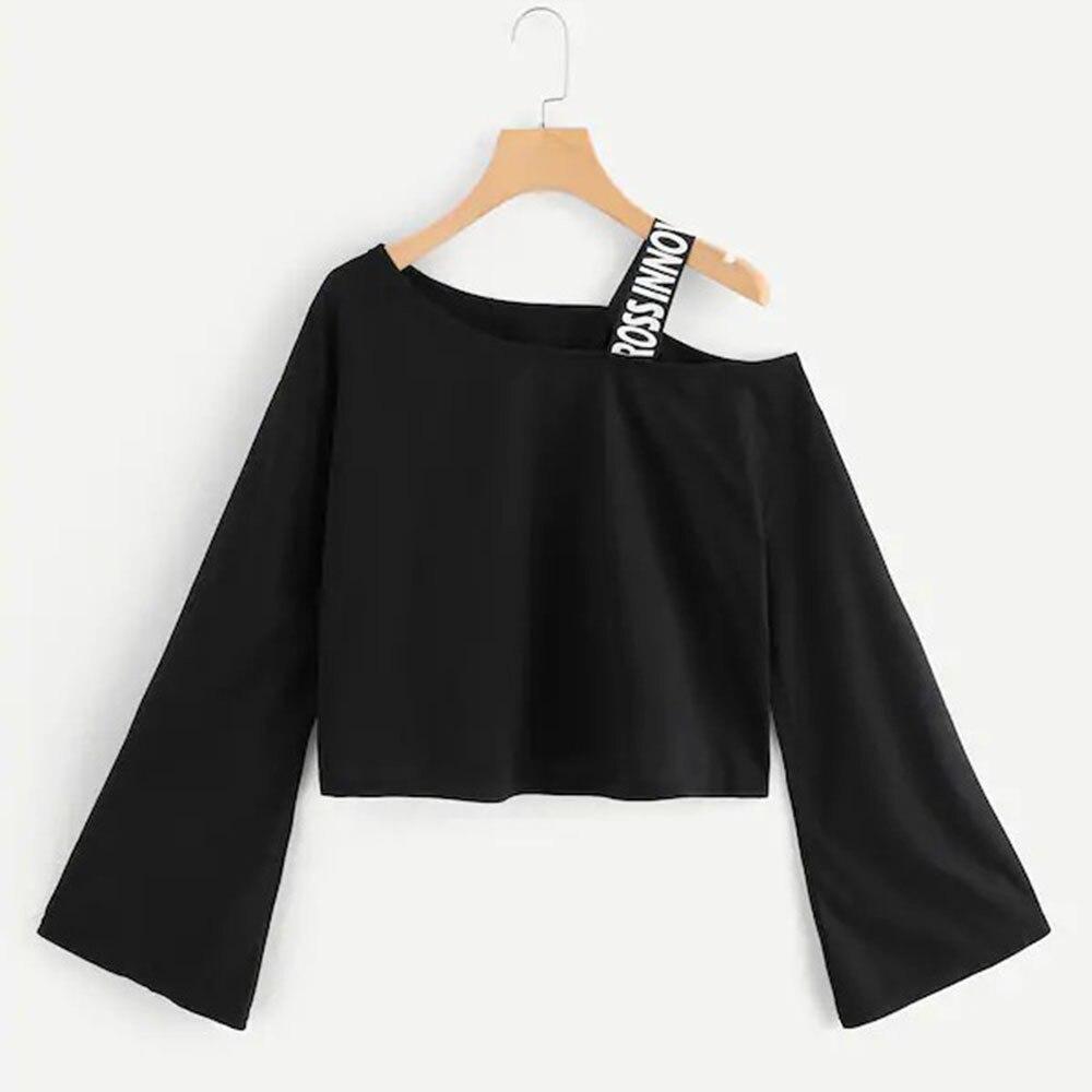 Neatie kiddie Fashion Off Shoulder Short T-shirt Women Tee Shirt Tops Long Flare Sleeve Ribbon Patchwork Tshirt Female Clothes