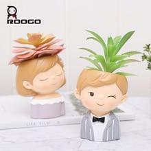 Roogo flowerpot 현대 식물 냄비 커플 연인 냄비 꽃 즙이 많은 귀여운 장식 꽃 냄비 결혼식 장식