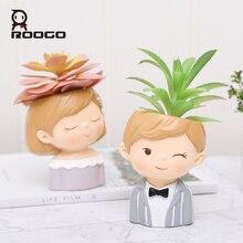Roogo vaso de flores moderno vaso de plantas casal amantes vasos para flores suculentas bonito decorativo vasos de flores para a decoração do casamento
