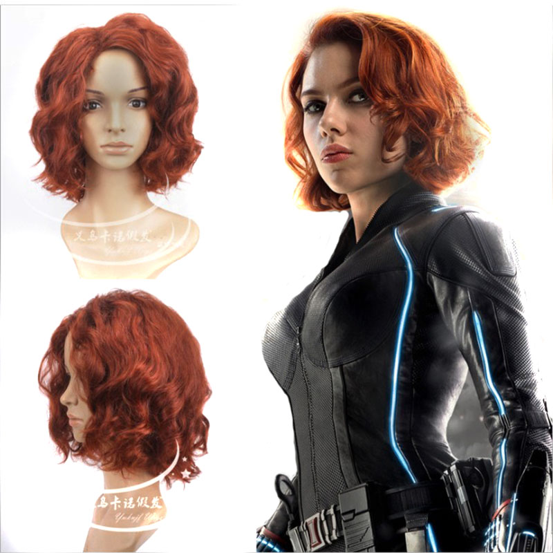 Marvel's The Avengers Movie Black Widow Cosplay Brown Wig 40cm Curly Costume Play Wigs Halloween Party Synthetic Hair+Wig Cap