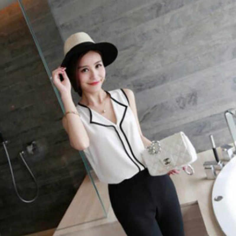 Блузка женская 2019 Мода простота короткий рукав без рукавов Femme Топы рубашка свободный v-образный вырез повседневная дикая Джокер женские блузки рубашка