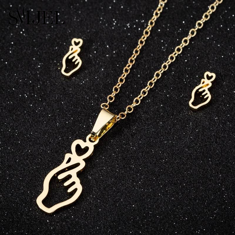 SMJEL Love Hand Necklaces Women Jewelry Stainless Steel Show your Love Heart Charm Necklaces Best Friend Girl Gifts Collier image