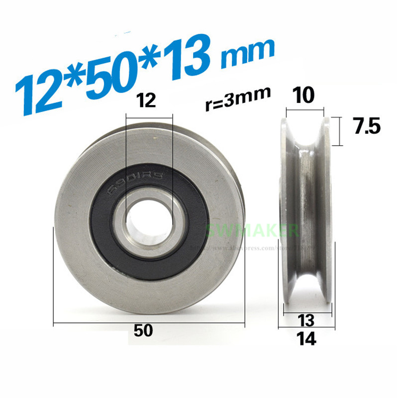 12*50*13mm 6301RS bearing steel bearings, U grooves V round bottom 5cm pulley, 6mm guide wheel, wire rope lifting wheel Pulleys  - AliExpress