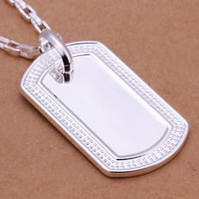Women or girls fashion jewerly 925 sterling silver luckly square box chains with cute dog tag charms  Pendant Necklace Wholesale
