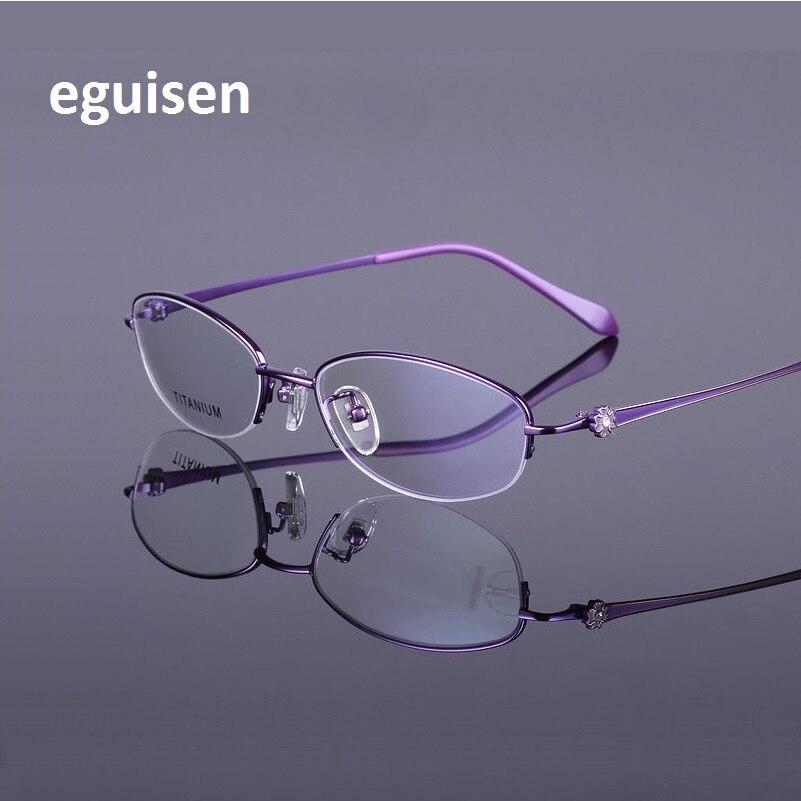 53-18-138 очки рама новых женских моделей из чистого Titanium близорукость модные полуботинки кадр очки кадр 920 Oculos-де-грау
