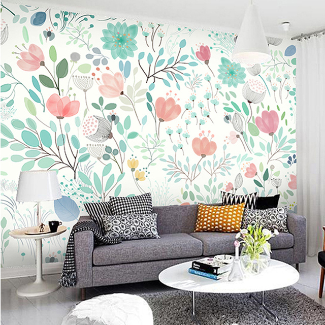 Custom 3d Mural Watercolor Floral Wallpaper Bedroom Living Room TV Backdrop  Large Wallpaper Mural