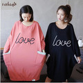 Women's dresses 2017 new cotton night shirts women letter printed long nightgown ladies long sleeve nightgowns cute sleepwear