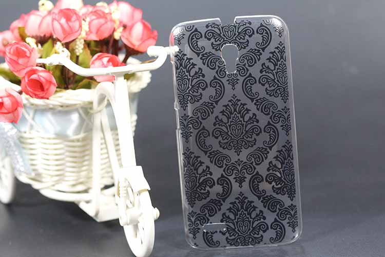Diy White Black Vintage Paisley Flower Hard PC Case Cover For For Alcatel One Touch Pop 2 5