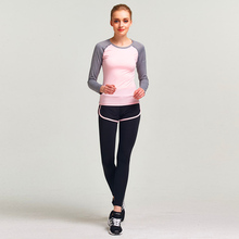 Women's 2 Piece Yoga Gym Suit Outfit Athletes Workout Gear Running Front zipper Top T-shirt Leggings Pants