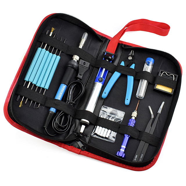 NEWACALOX EU/US 60W Thermoregulator Soldering Iron Kit Screwdriver Desoldering Pump Tin Wire Pliers Welding Tools Storage Bag 1
