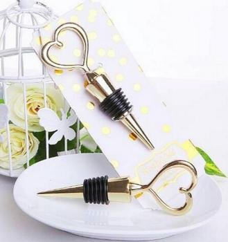 50pcs/lot Wedding Favors Gifts Gold Heart Shape corkscrew Wine Bottle Stopper
