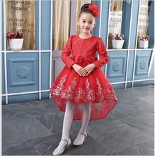 Diabbe's store 2017 European summer GIRLS CROCHET flower flower princess dress dress with long sleeves trailing
